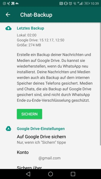 Whatsapp Chatverlauf Chat-Backup