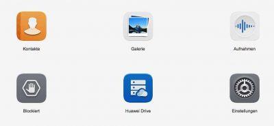 Huawei ID Menü Ansicht