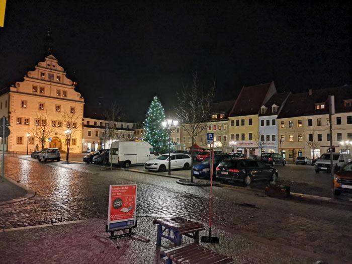 Markt Dippoldiswalde am Abend