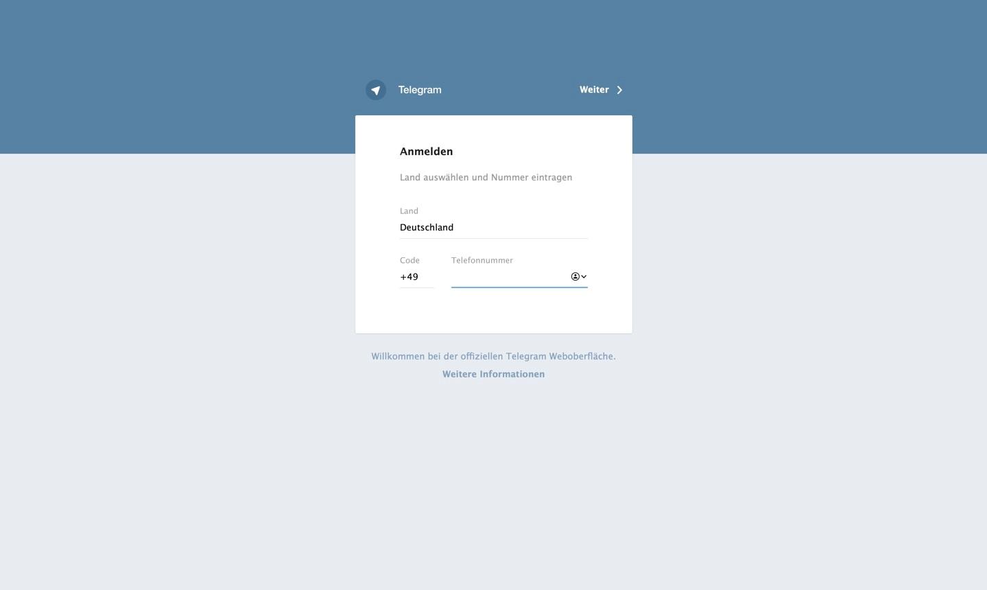 Anmelden bei Telegram im Web-Browser