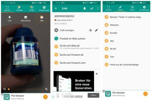 Screenshots QR-Code App QR Scanner und Barcode