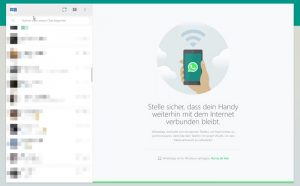 Ansicht Chatverläufe und Chatfenster WhatsApp Web