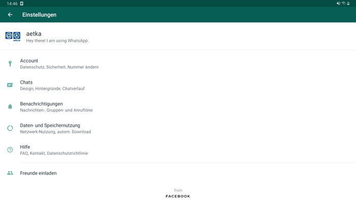 Whatsapp fertig eingerichtet auf dem Android Tablet