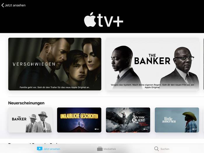 Apple TV+ Übersichtsseite miz Streaming Inhalten