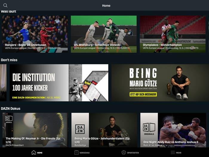 DAZN Übersichtsseite mit Streaming Angeboten