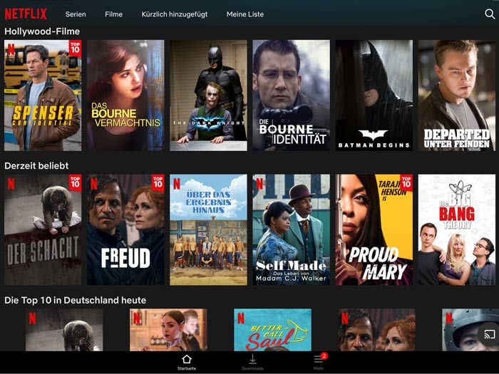 Netflix Übersichtsseite