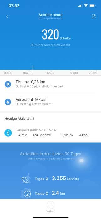 Xiaomi App Übersicht Schritte