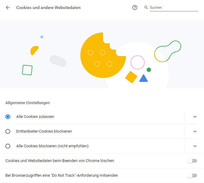 Cookie Einstellungen im Chrome Browser