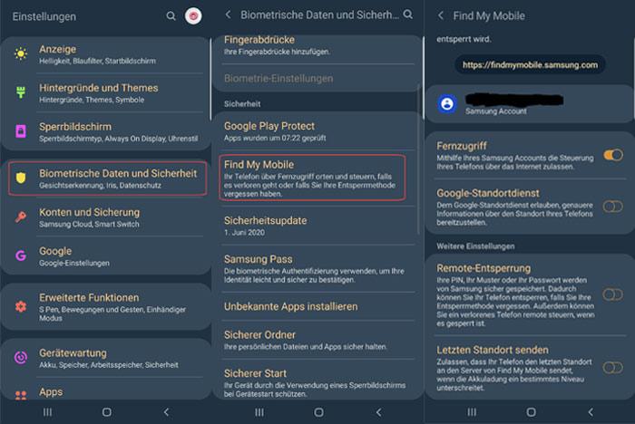 Einstellungen zum Aktivieren von der Find My Mobile Funktion im Samsung