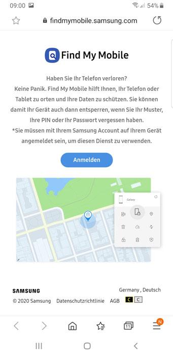 Samsung Find My Mobile Website