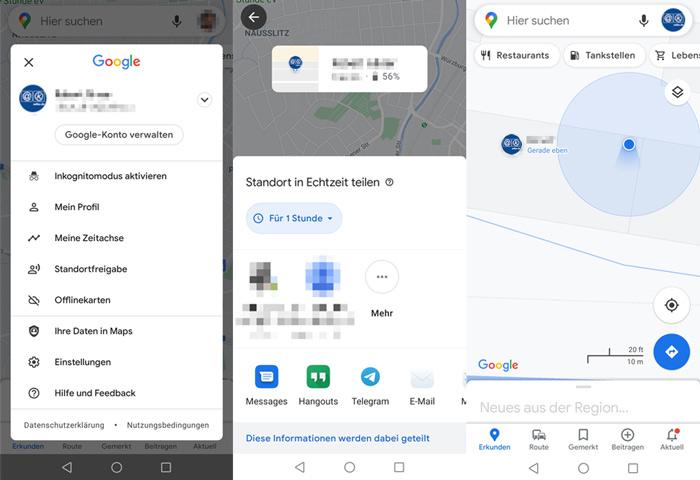 Google Live Standort