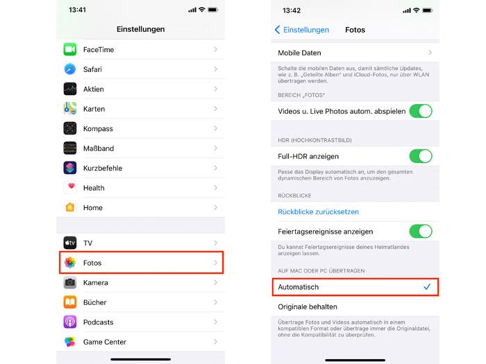HEIC in JPG Einstellung in Apple iOS