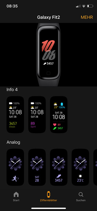 Galaxy Fit App Design Anpassung