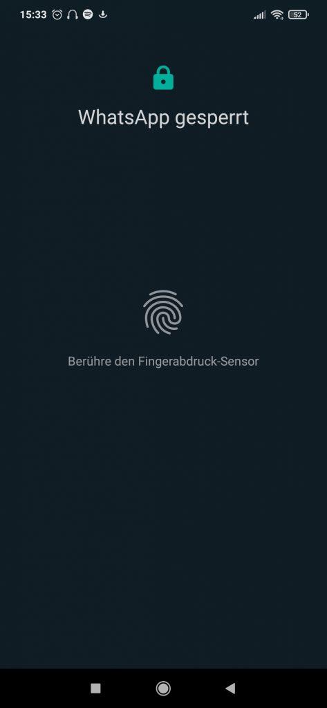 Fingerabdruck zum Entsperren von WhatsApp