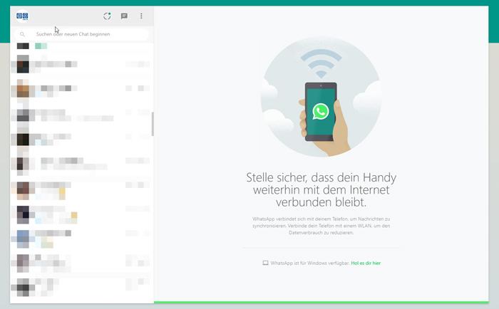 Internetverbindung muss bestehen für WhatsApp-Web