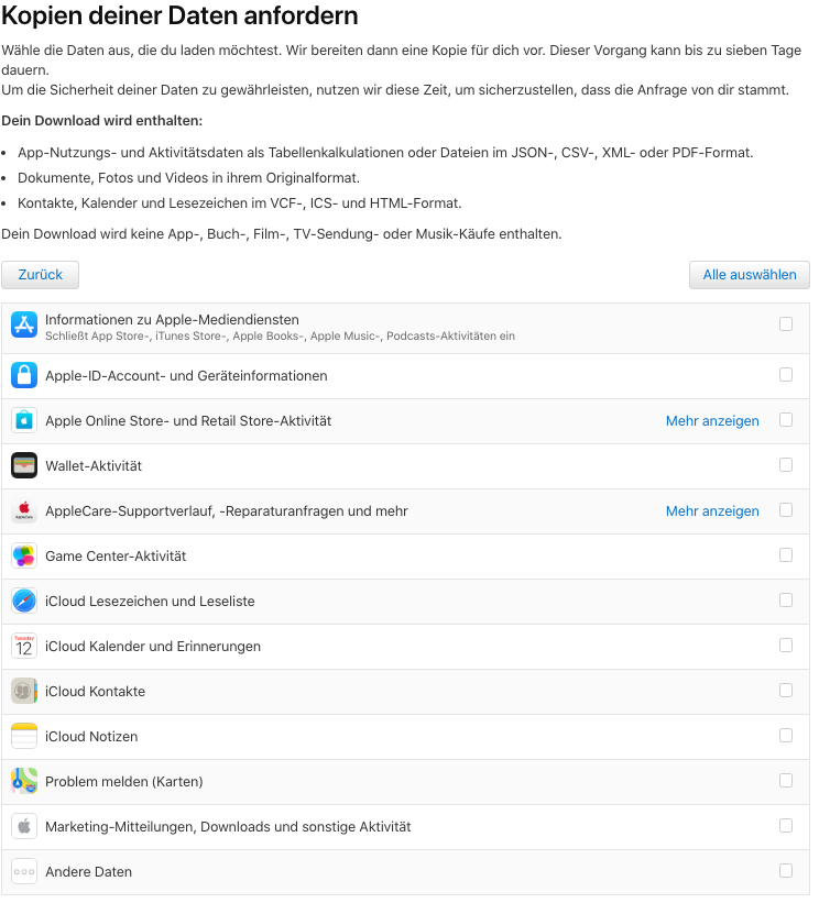 Kopie der Daten anfordern iCloud