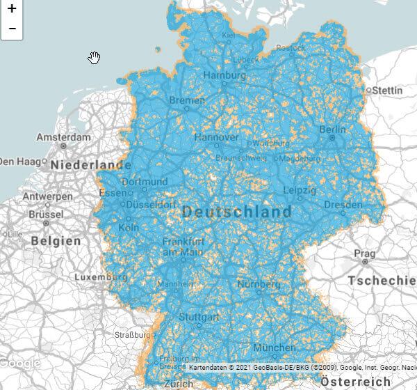 o2 3G Netzabdeckung Karte