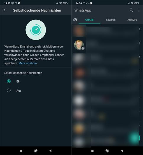 Screenshot-Sammlung zu selbstlöschenden Nachrichten - WhatsApp