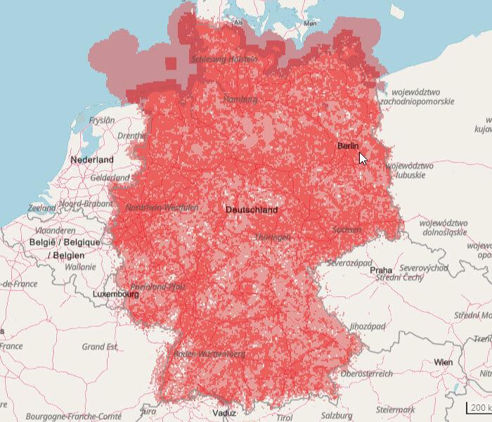 Vodafone 3G Netzabdeckung Karte