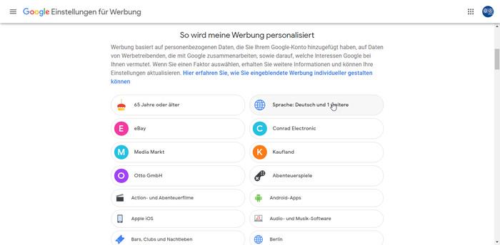 Google Personalisierte Werbung Beispiele