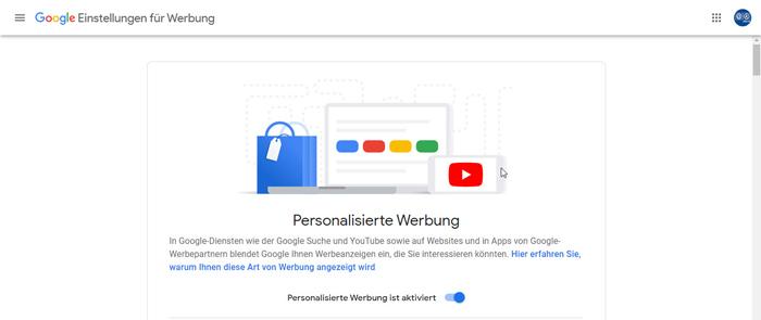 Google Personalisierte Werbung deaktivieren